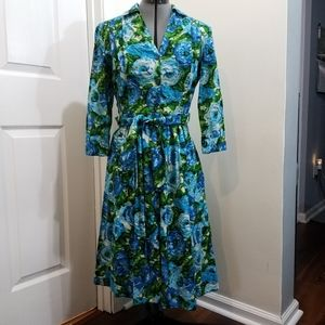 Newport News blue roses vintage style dress 8